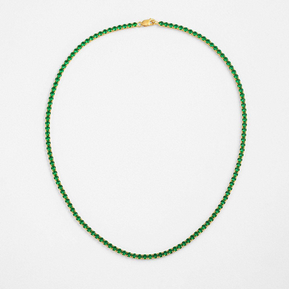 Tennis Green - Choker - 18k vergoldet