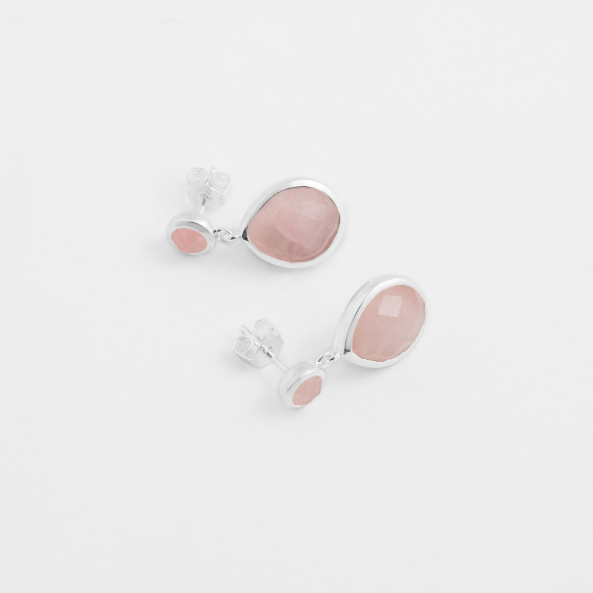 Drop-shaped agate - Ohrstecker - Rosa