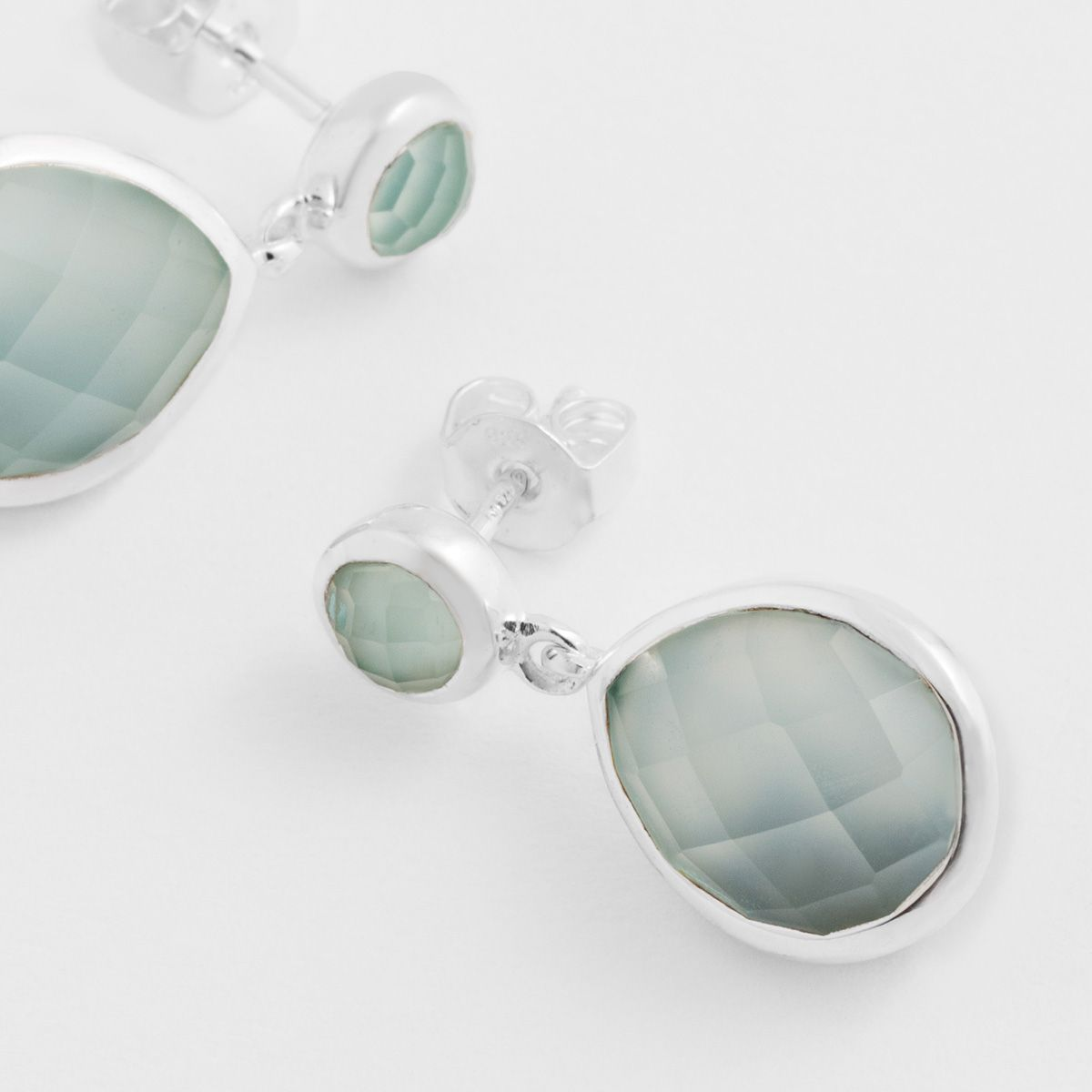 Drop-shaped agate - Ohrstecker - Aqua