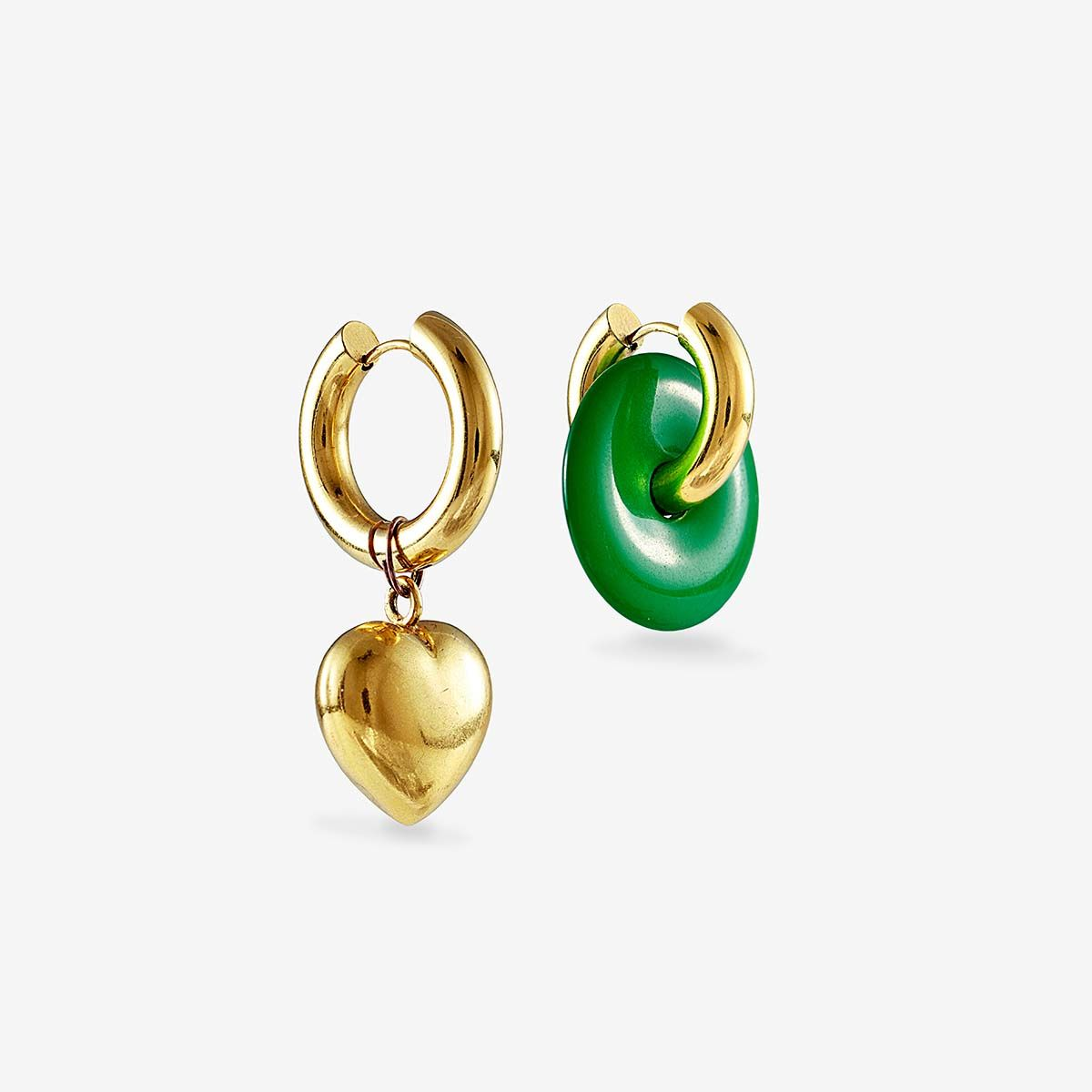 Malachite and heart earrings - Creolen - 24k vergoldet