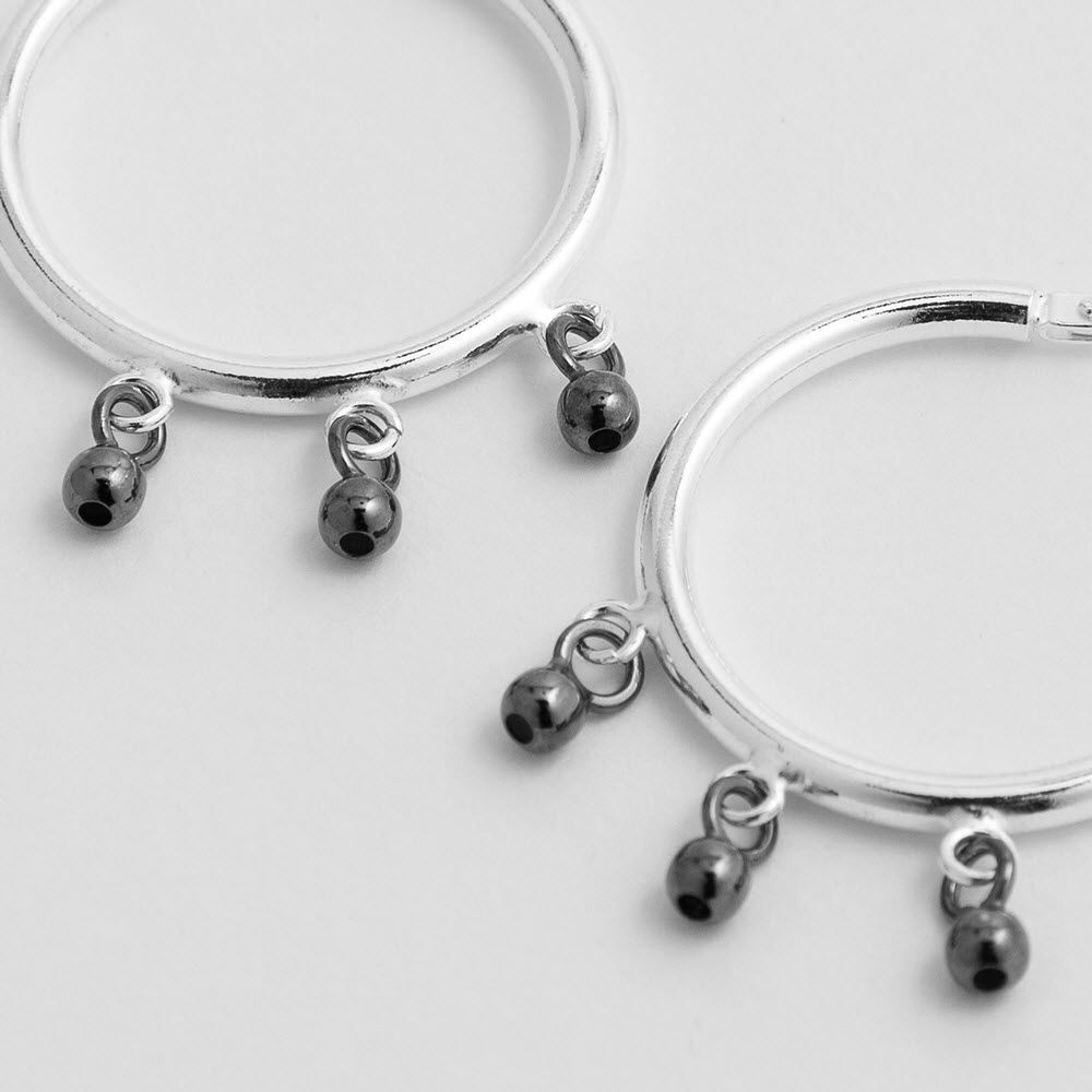 Beaded polished - Creolen - Silber