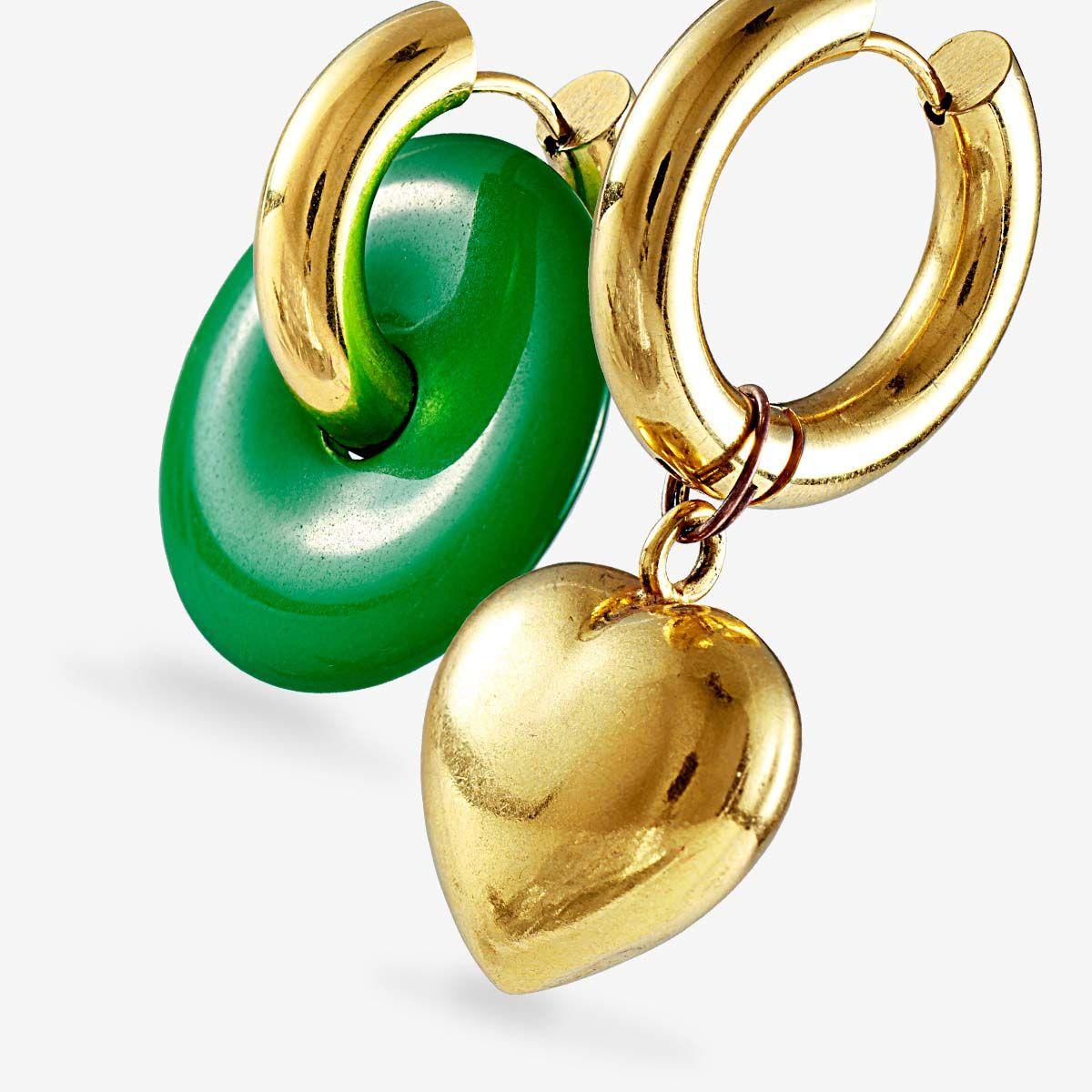 Malachite and heart earrings - Creolen - Gold