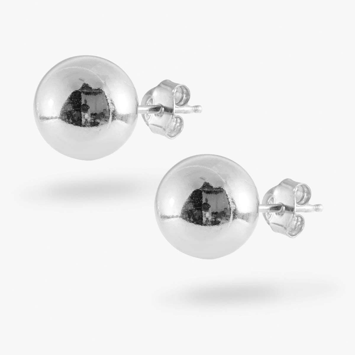 Medium Ball - Ohrstecker - Silber