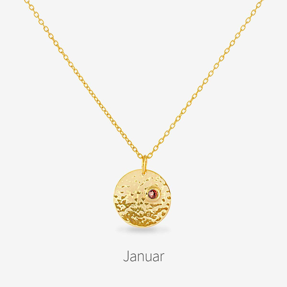 Birthstone January - Halsketten - 18k vergoldet