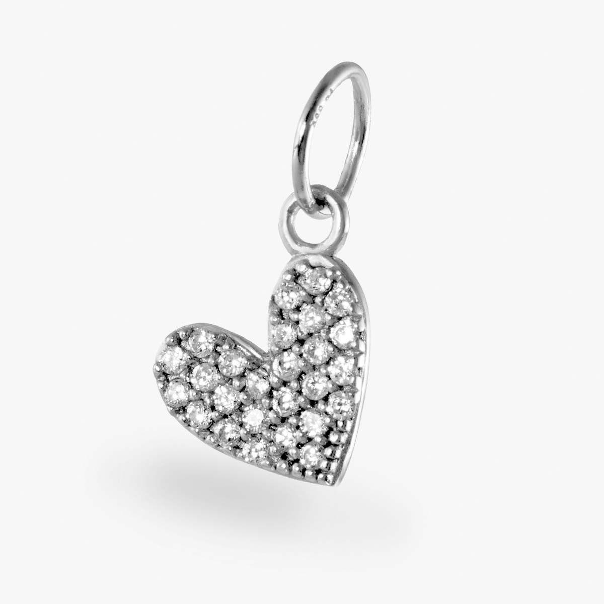 Pavé Herz Anhänger - Kettenanhänger - Silber