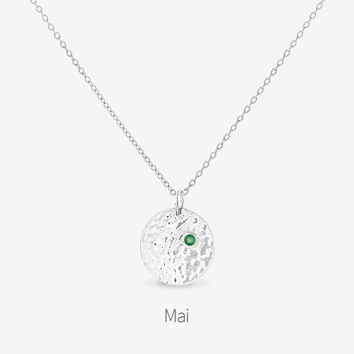 Birthstone May - Halsketten - Silber
