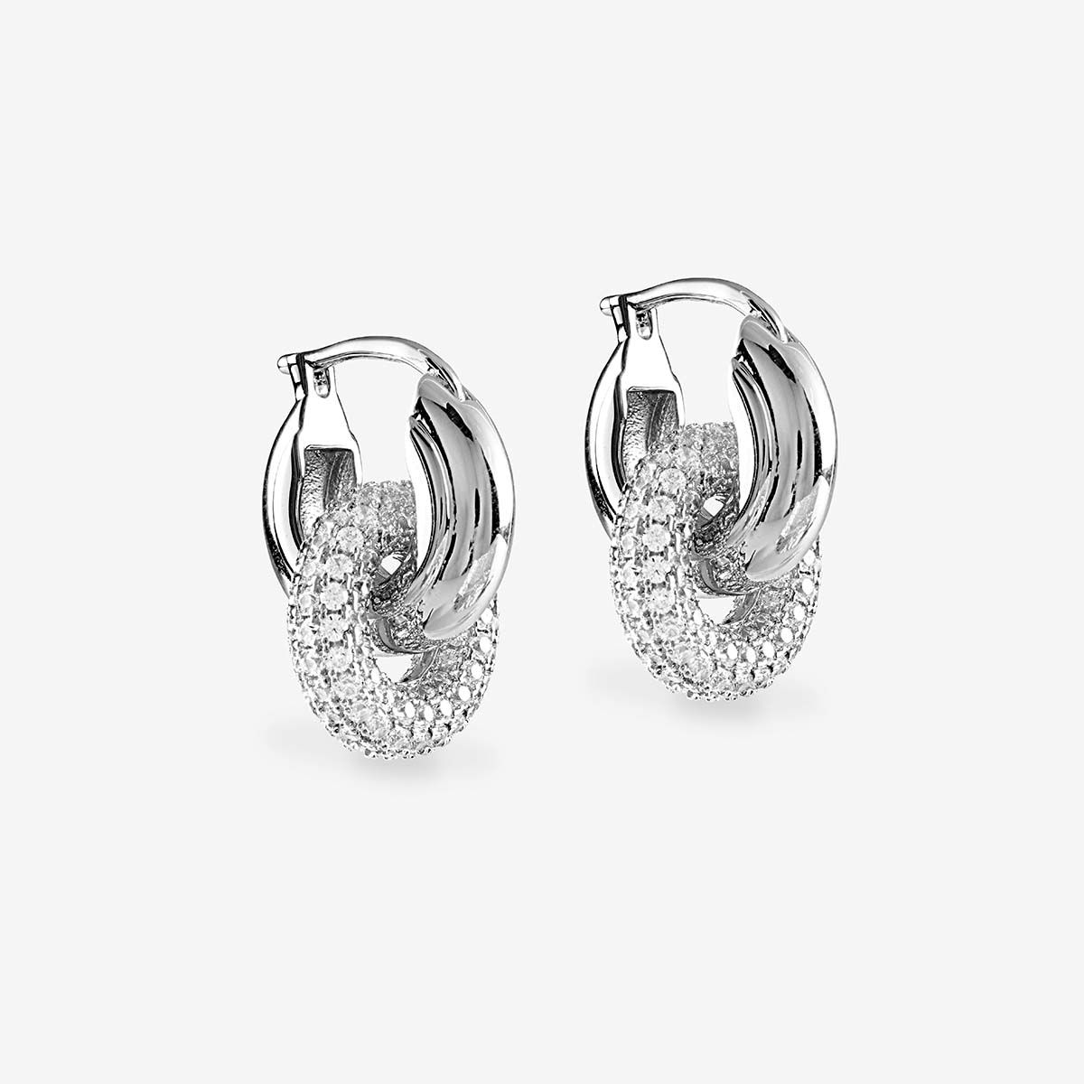 The Pave Interlock Hoops - Creolen - Silber