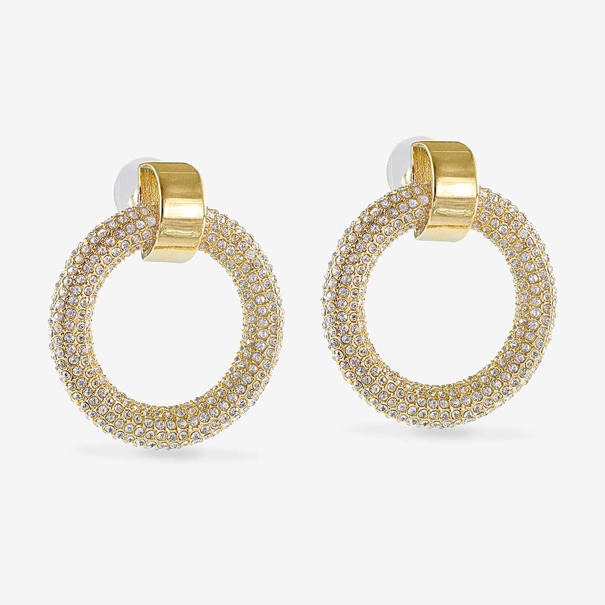 The Pave Door Knocker Hoops - Ohrstecker - 14k vergoldet