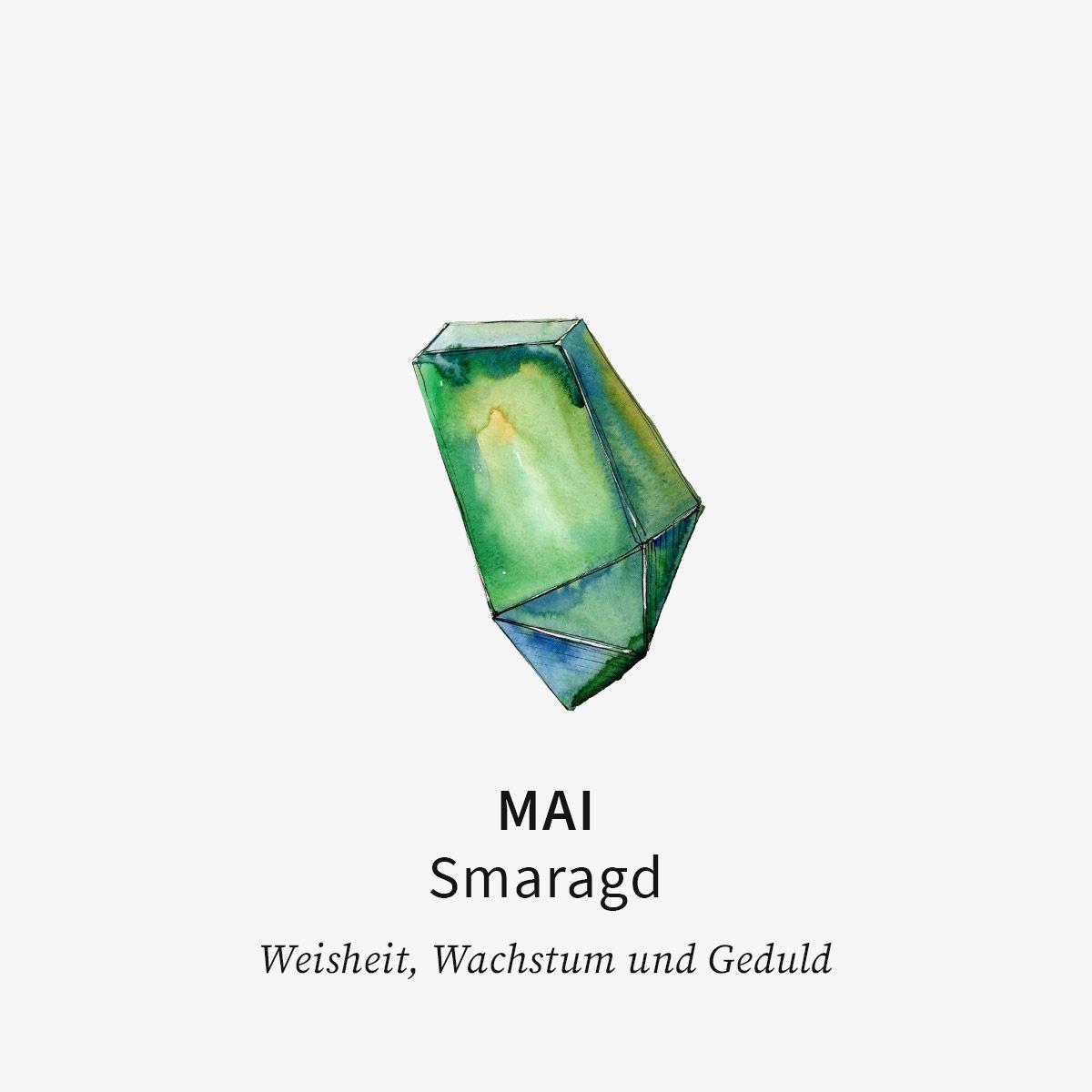 Birthstone May - Halsketten - 18k vergoldet