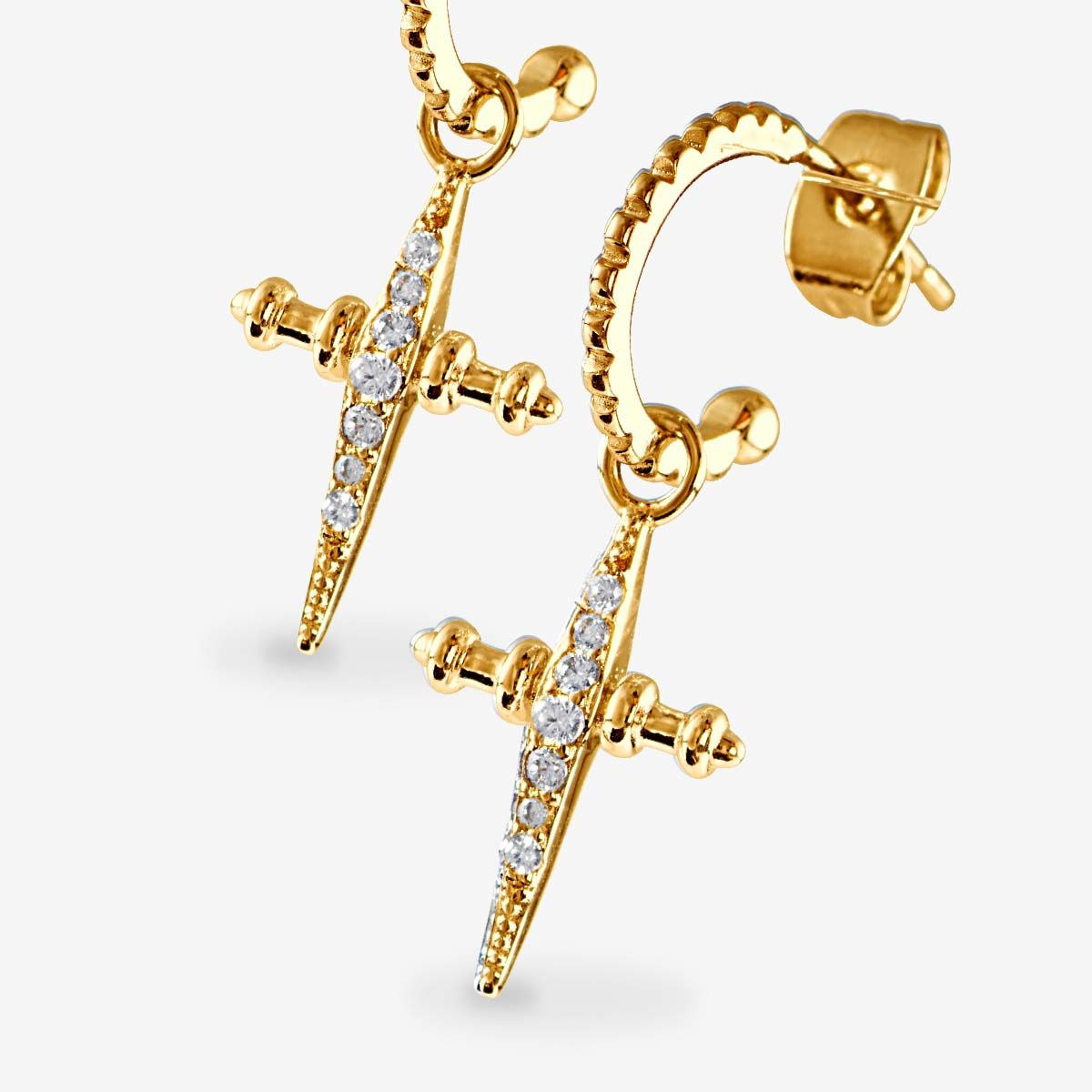 The Pave Mini Cross Hoops - Ohrstecker - Gold