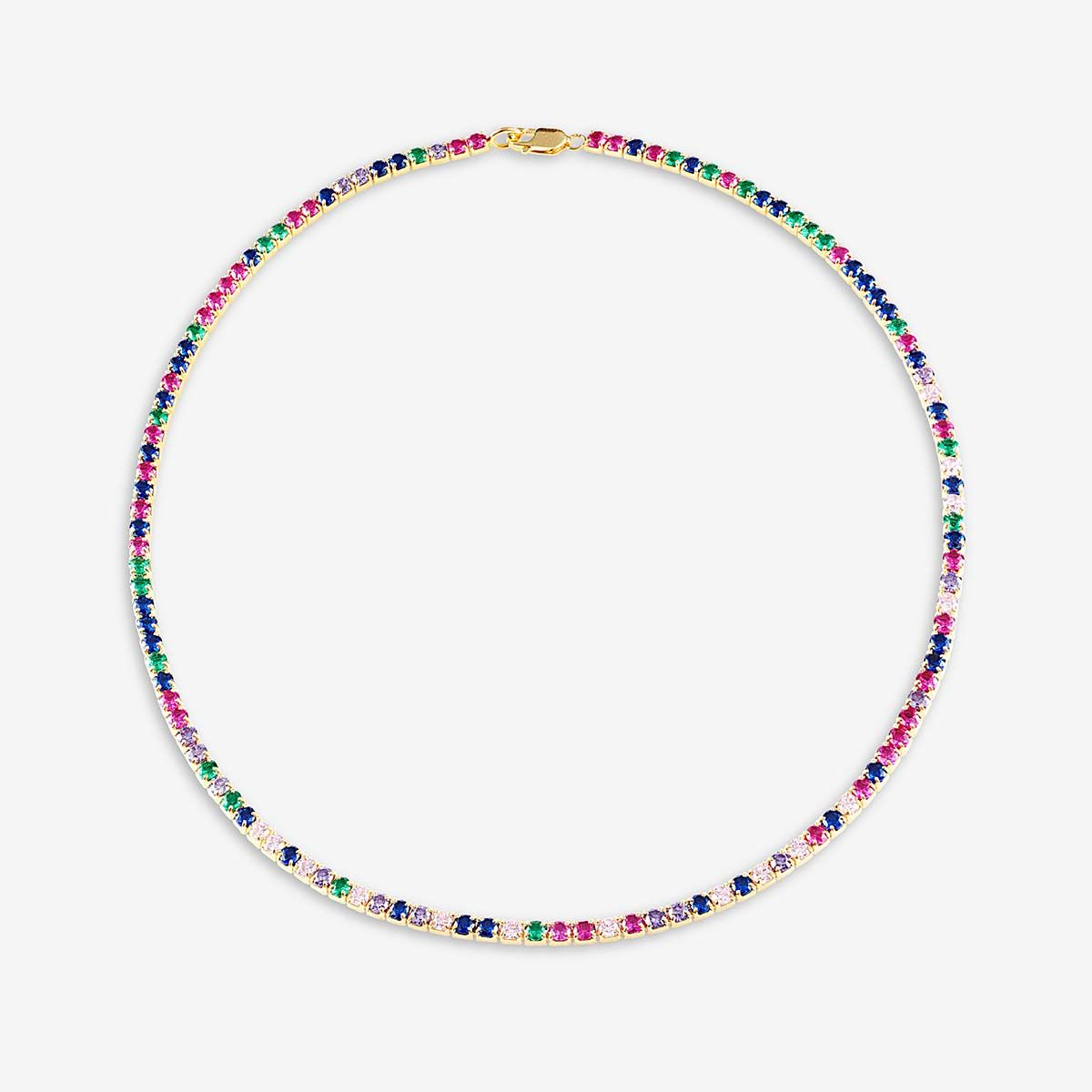 Tennis Choker - Mulit Color - Choker - 18k vergoldet