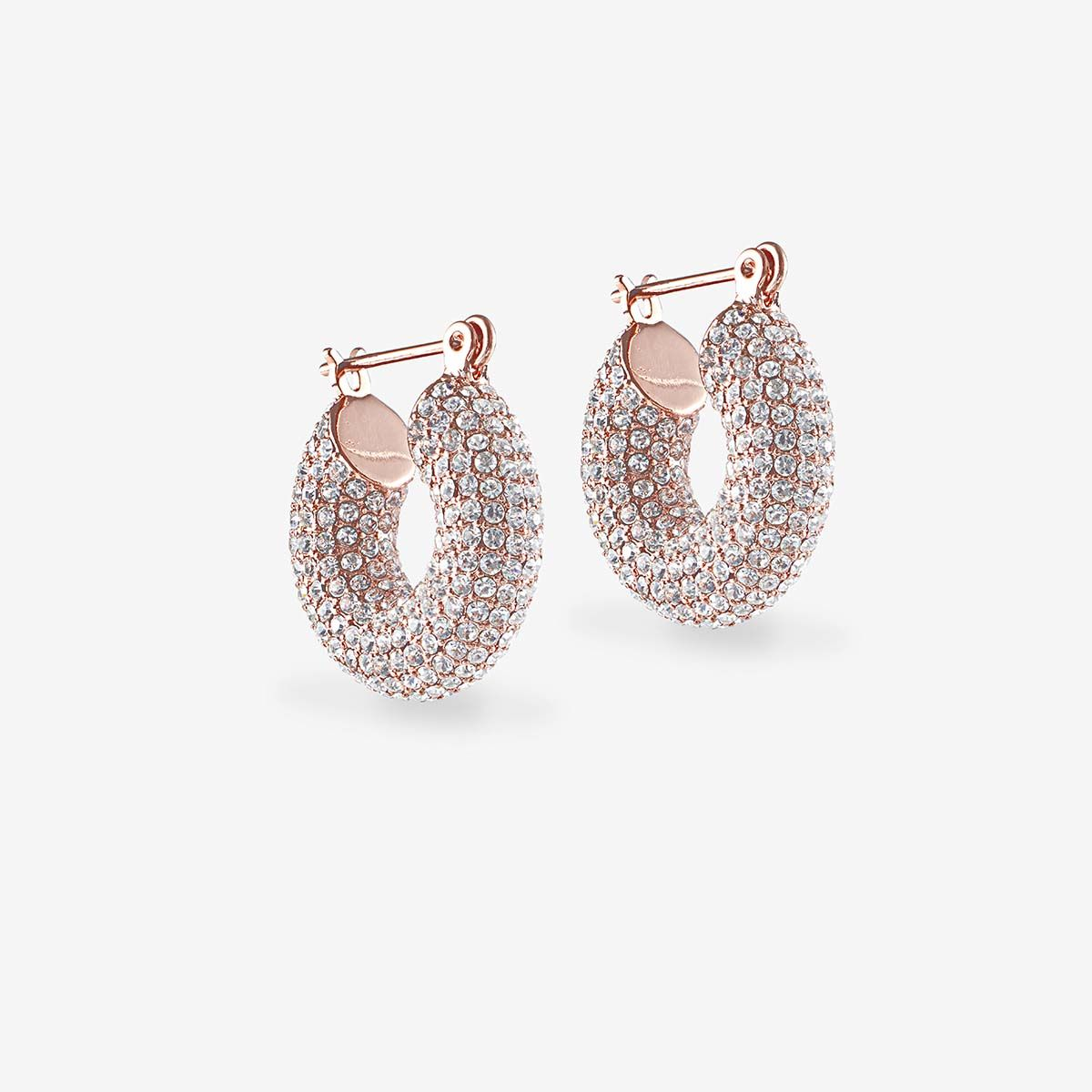 Pave Mini Donut Hoops - Creolen - Rosa