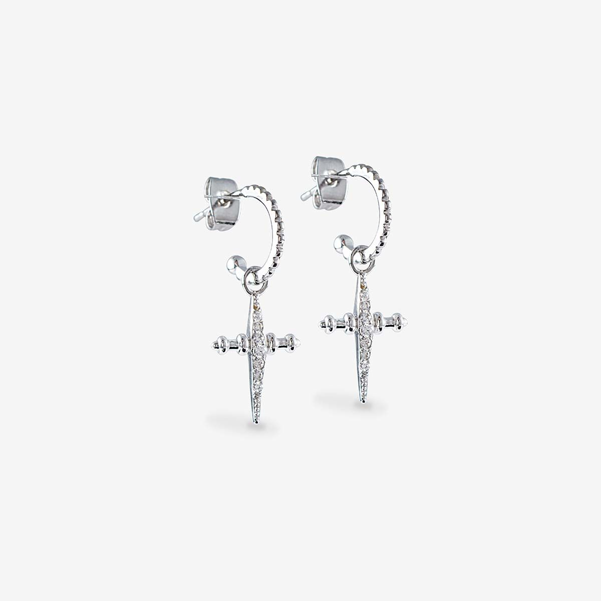The Pave Mini Cross Hoops - Ohrstecker - Silber