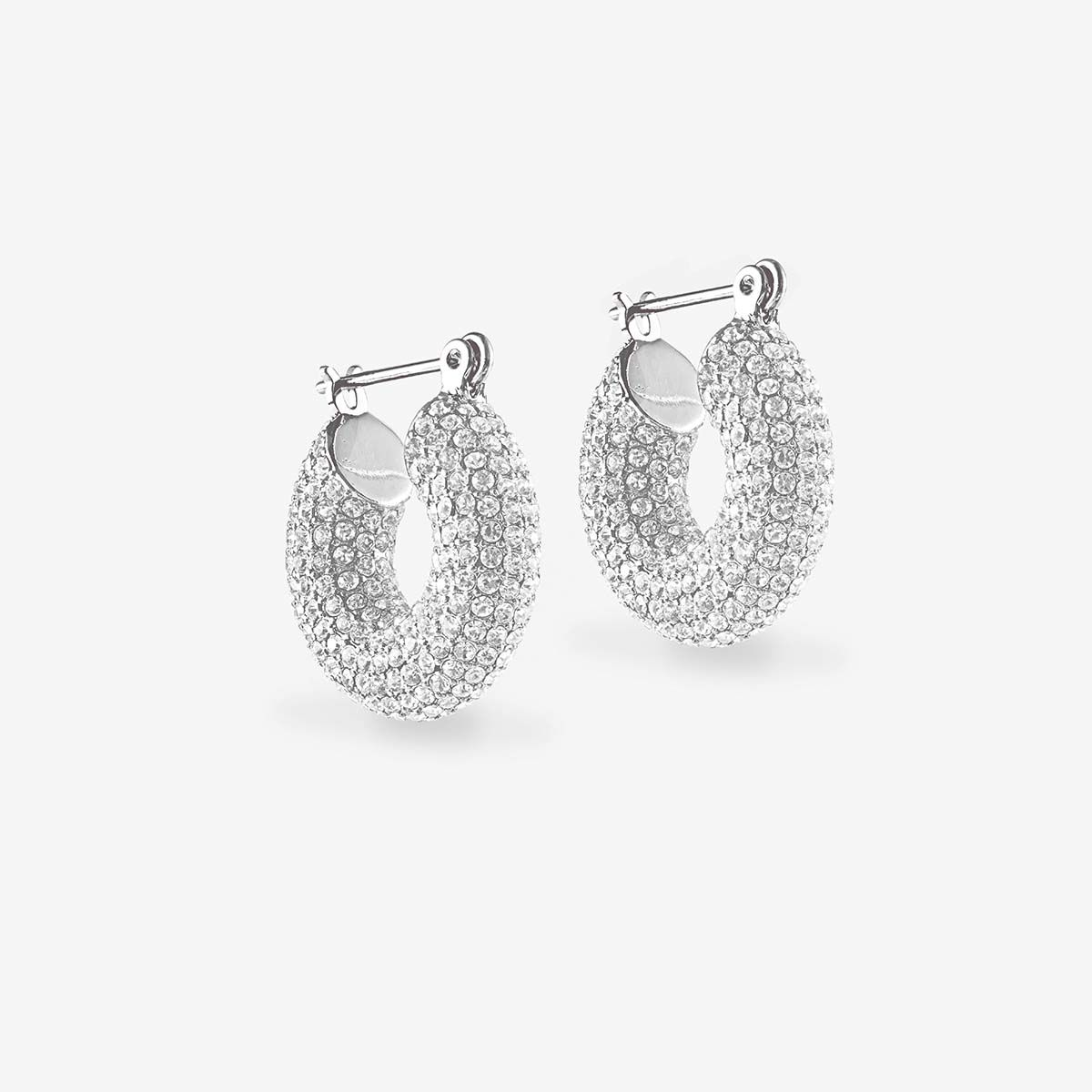 Pave Mini Donut Hoops - Creolen - Silber