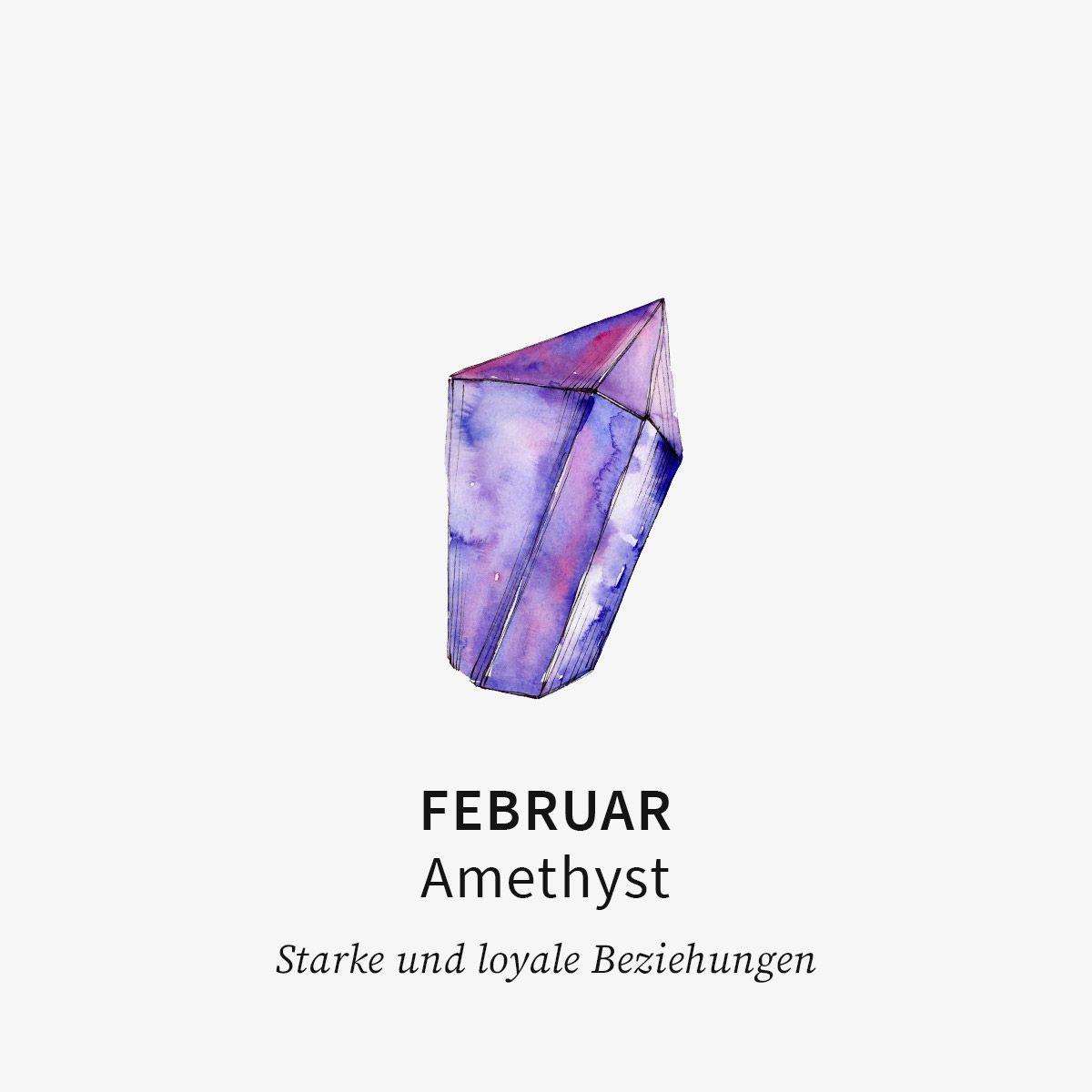Birthstone February - Halsketten - 18k vergoldet