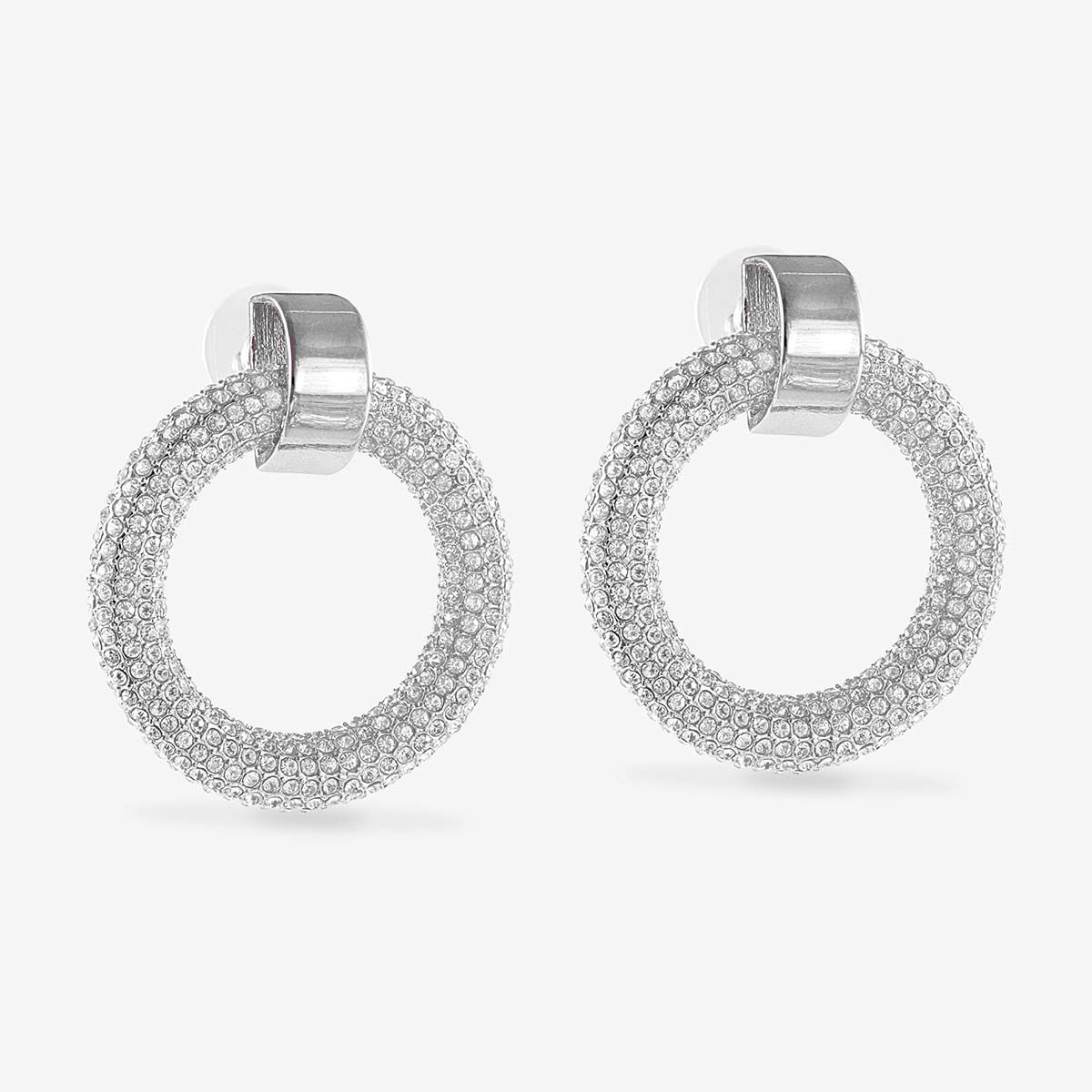 The Pave Door Knocker Hoops - Ohrstecker - Silber