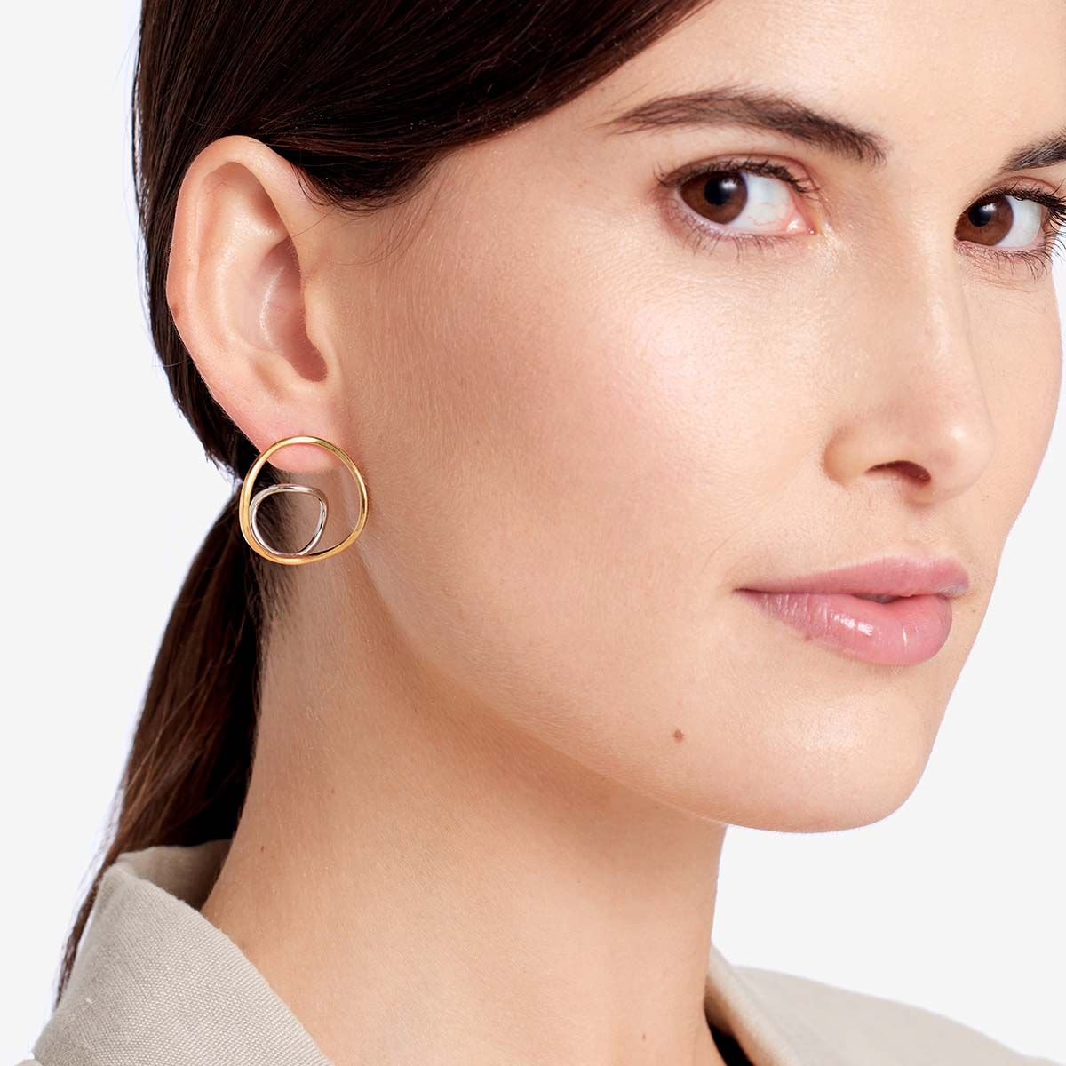 Soley two tone earrings - Ohrhänger - Gold
