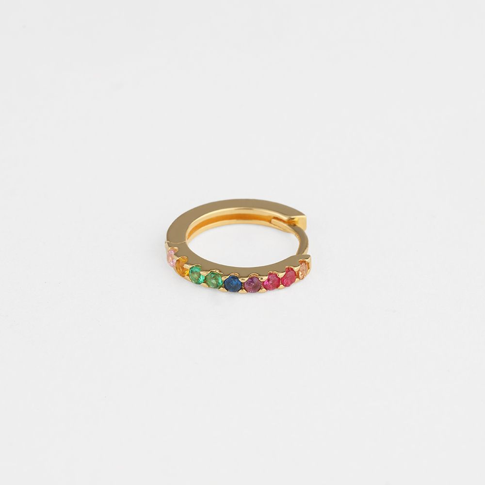 Rainbow hoop - Single-Ohrringe - 18k vergoldet