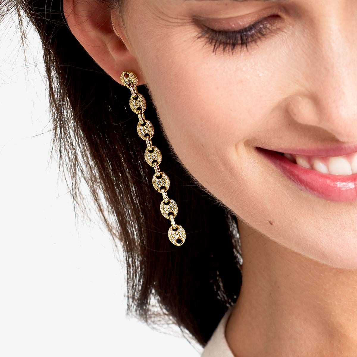 The Pave Mariner Link Drop Earrings - Ohrhänger - Silber
