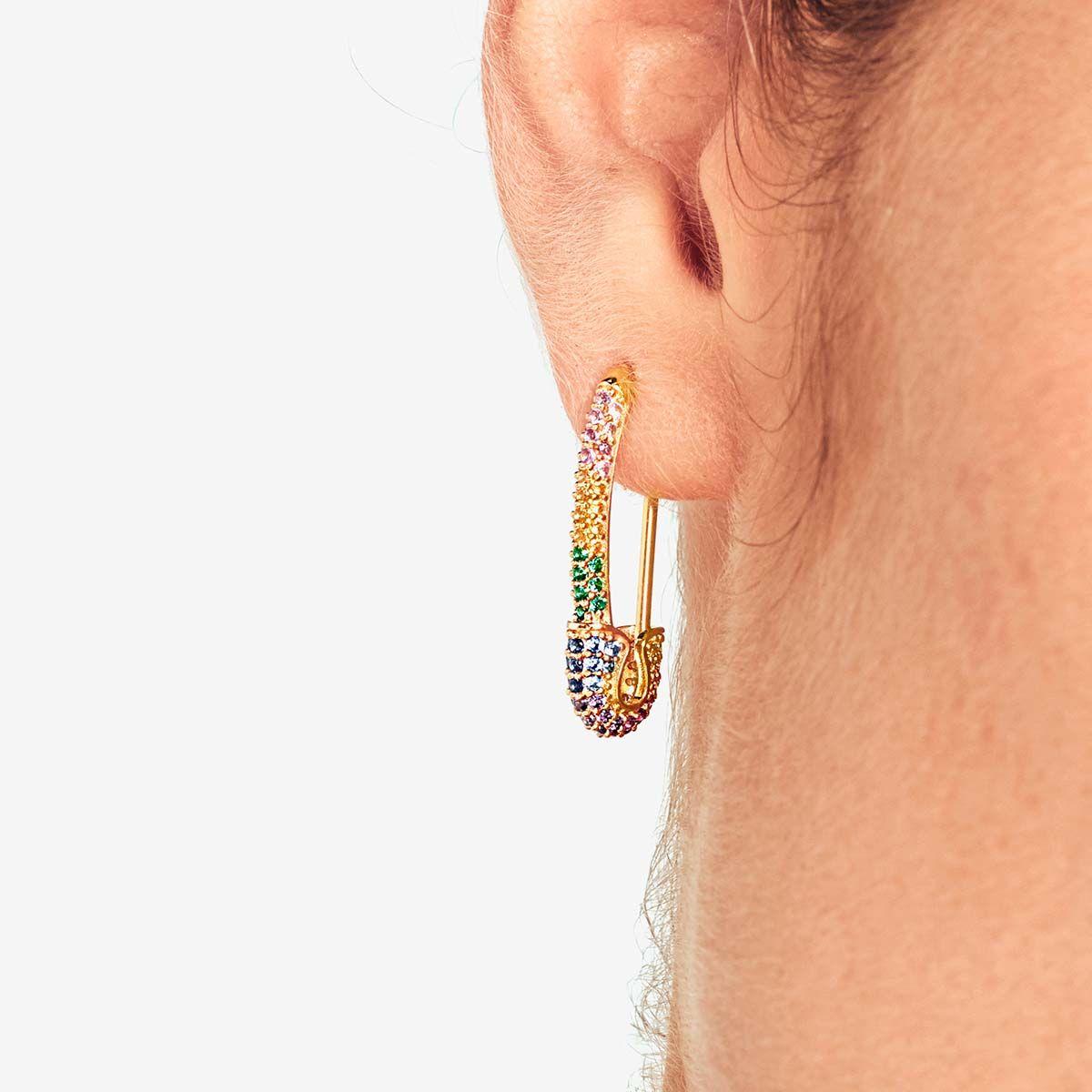 Better Safe than Sorry Rainbow Piercing Gold - Single-Ohrringe - 18k vergoldet