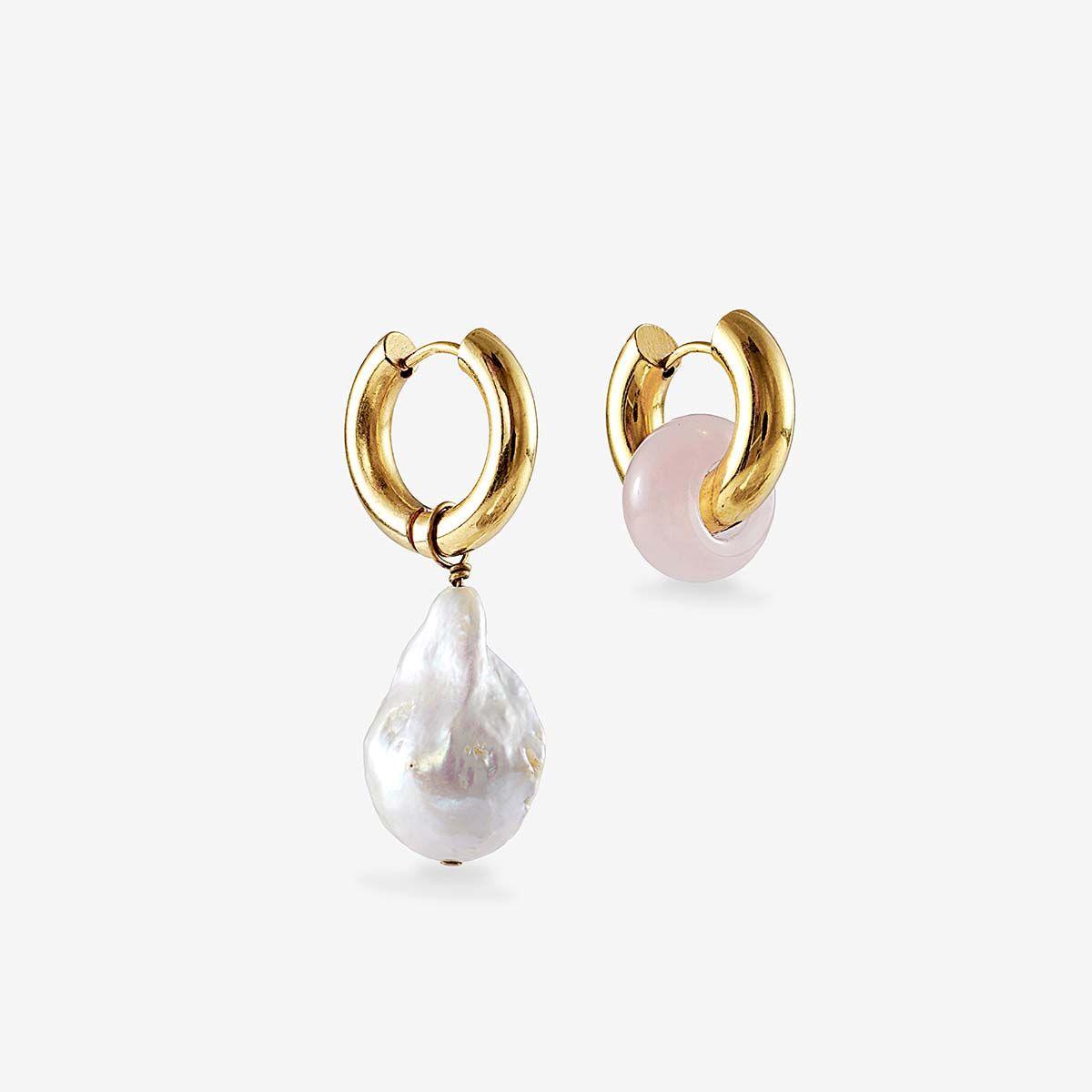 Baroque pearl and rose quartz earrings - Perlenohrringe - 24k vergoldet