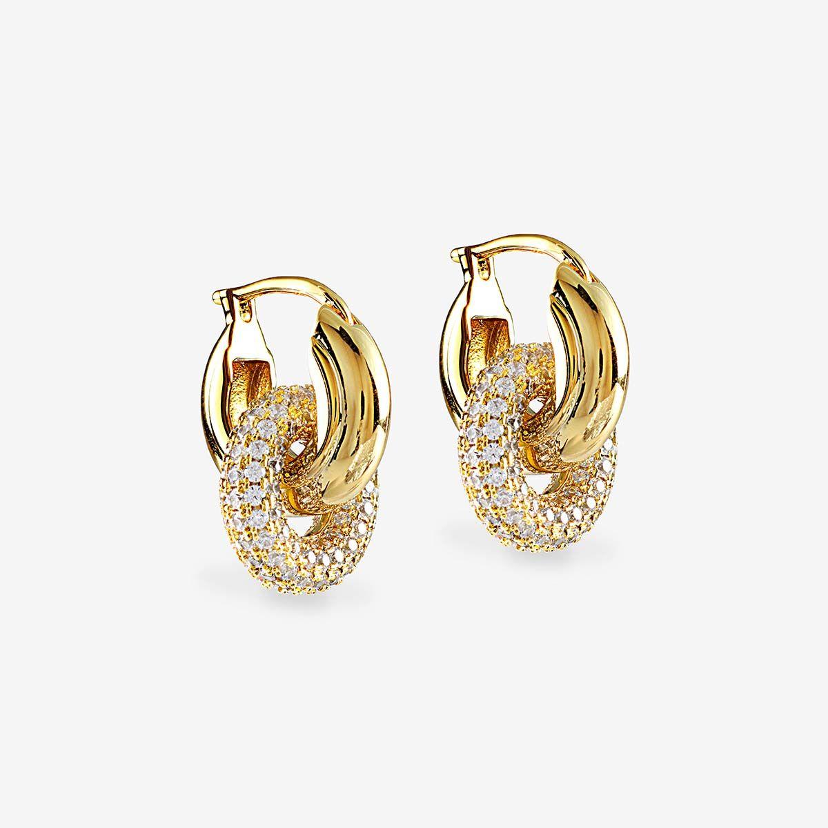 The Pave Interlock Hoops - Creolen - Gold
