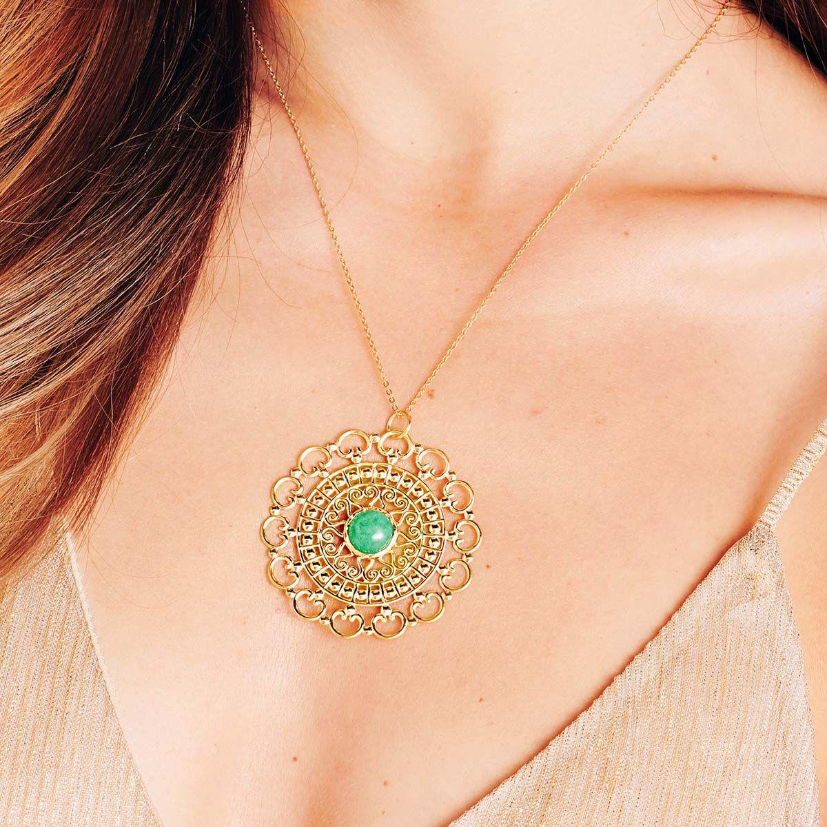 Emerald statement pendant - Kettenanhänger - Gold