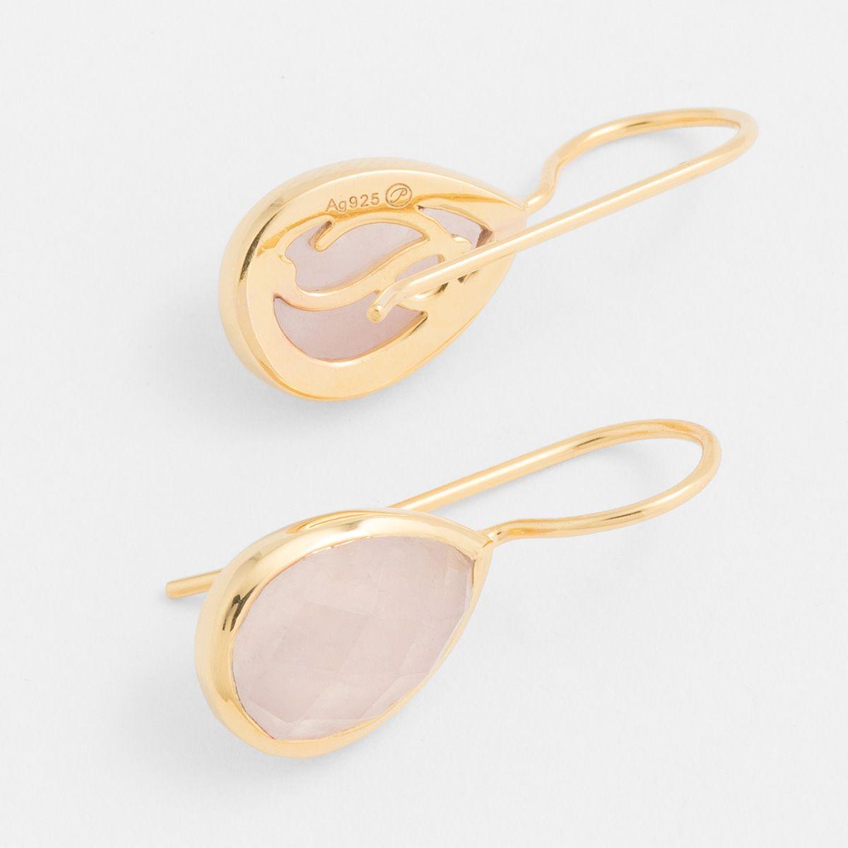 Drop-shaped agate - Ohrhänger - Rosa