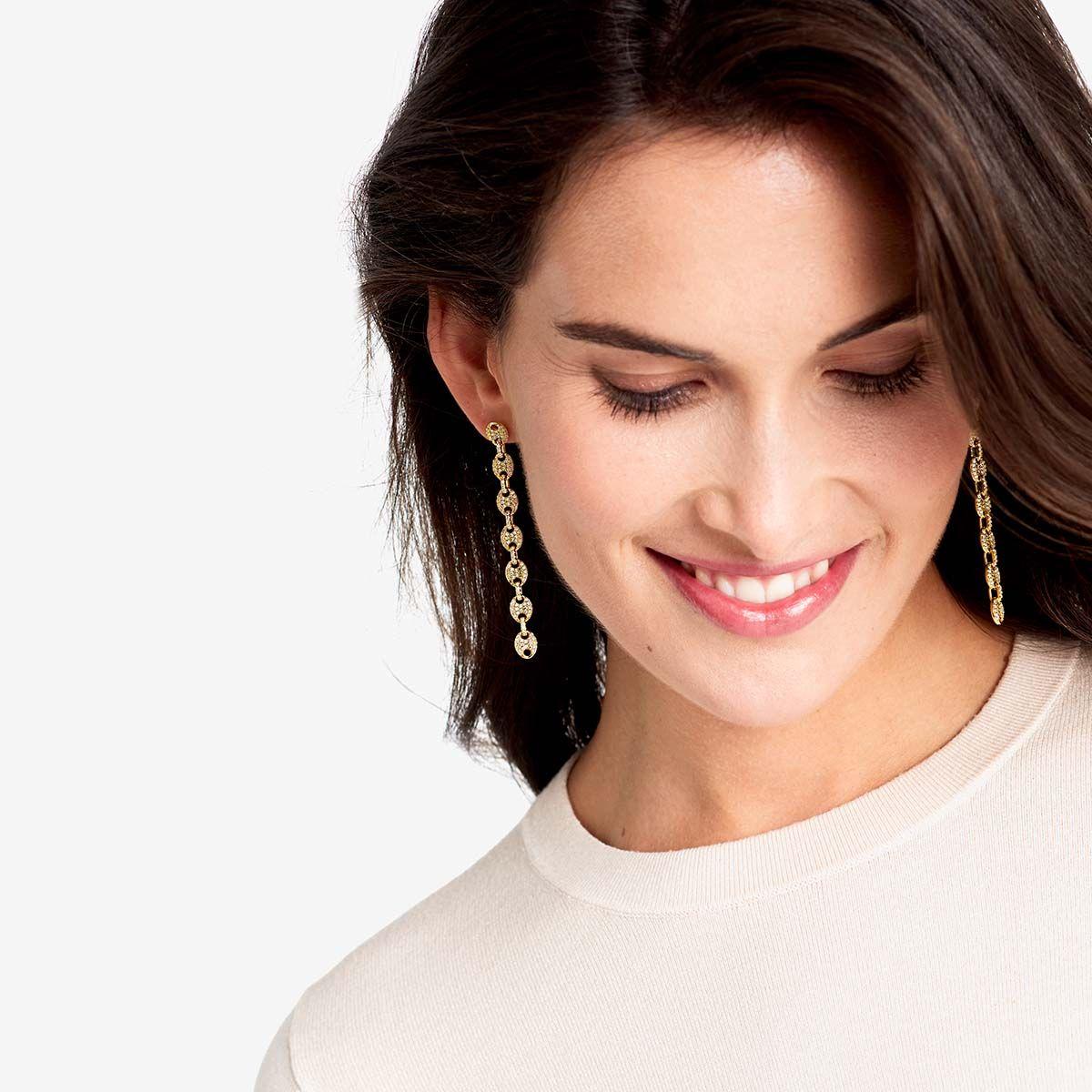 The Pave Mariner Link Drop Earrings - Ohrhänger - 18k vergoldet