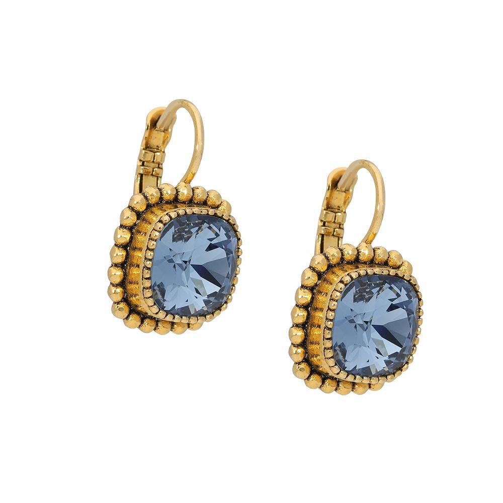 Faceted crystal - Ohrhänger - Denimblau